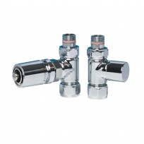 Apollo Valve Set - Chrome White Head TRV Straight Valves