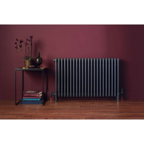 Bisque Classic Column Radiator With Feet In ANTHRACITE