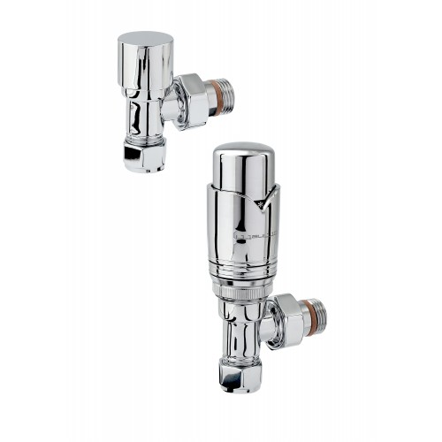 Zehnder Valve Set - Chrome Plated ANGLED THERMOSTATIC Valves
